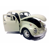 Carrinho Fusca Bege De Ferro - Beetle - Miniatura 1/32