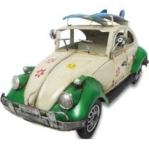 Fusca De Ferro Fundido Carro Vintage Retro Surf 30cm Verde