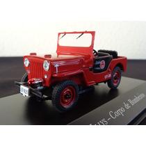 Miniatura Jeep Willys Corpo De Bombeiros Escala 1/43