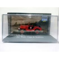 Miniatura Jeep Willys Viatura Bombeiro Serviço Brasil 1/43