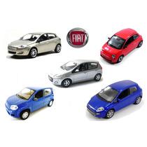 Kit 5 Miniaturas Coleção Fiat Bravo 500 Palio Uno Punto