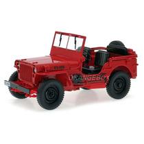 Jeep Willys 1/4 Wwii Army Truck 1:18 Welly Vermelho 18036rf