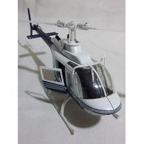 Helicóptero Bell 206 Miniatura 1/34 Enfeite Coleção Bra/az