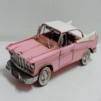 Miniatura Metal Enfeite Vintage Carro Clássico Cadilac Rosa