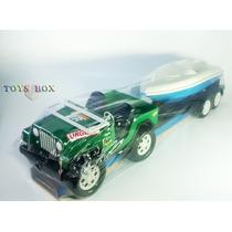 Jipe C/ Lancha Barco Brinquedo Plástico Miniatura