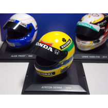 Miniatura Capacete Ayrton Senna + Prost + Hamilton F1 1/5