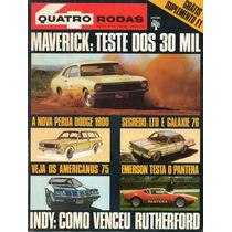 Quatro Rodas Nº167 Junho 1974 Ford Maverick Detomaso Pantera