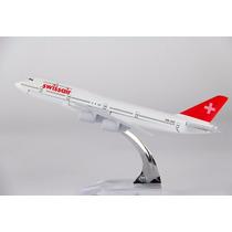 Avião Miniatura - Boeing 747-400 Swiss - Em Metal - Promoção