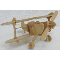 Avião 50 Cm Biplano Puzzle 3d - Madeira Mdf - Quebra Cabeça