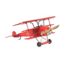 Avião Decorativo Metal 1917 Red Baron Fokker Triplane