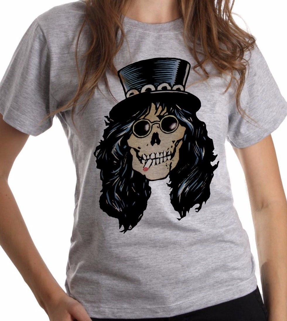 Baby Look Cinza Mescla Caveira Slash Guns N Roses Rock 385