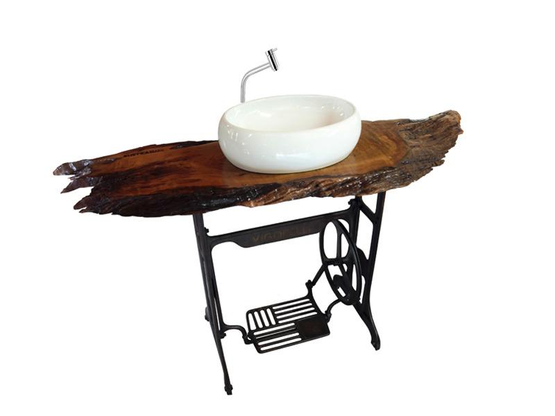 decoracao lavabo rustico : decoracao lavabo rustico:Balcão Para Cuba De Madeira / Lavabo/ Banheiro Rústico/ Tora – R$ 1