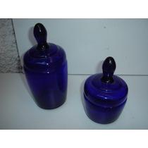 Antiguidade Par Potes Vasilhas Vidros Azulão Tampa