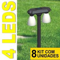 Luminaria Jardim Solar 4 Lampadas Leds Lumin Kit 8 Peças