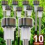 Luminária Solar Jardim Luna Inox Kit 10 Peças Prova De Água