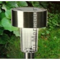 Luminária Com Luz Led Em Aço Inox Para Jardim Energia Solar
