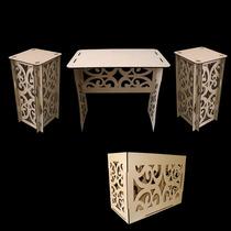Kit Provençal 1 Mesa 2 Cubos 1 Caixa Presente Mdf