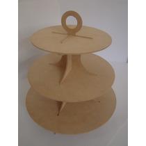 Torre Porta Cupcakes E Doces 3 Bandejas Mdf 6mm Desmontável