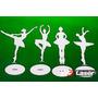 Kit 4 Bailarinas Mdf 30 Cm Com Base Decoração Festa