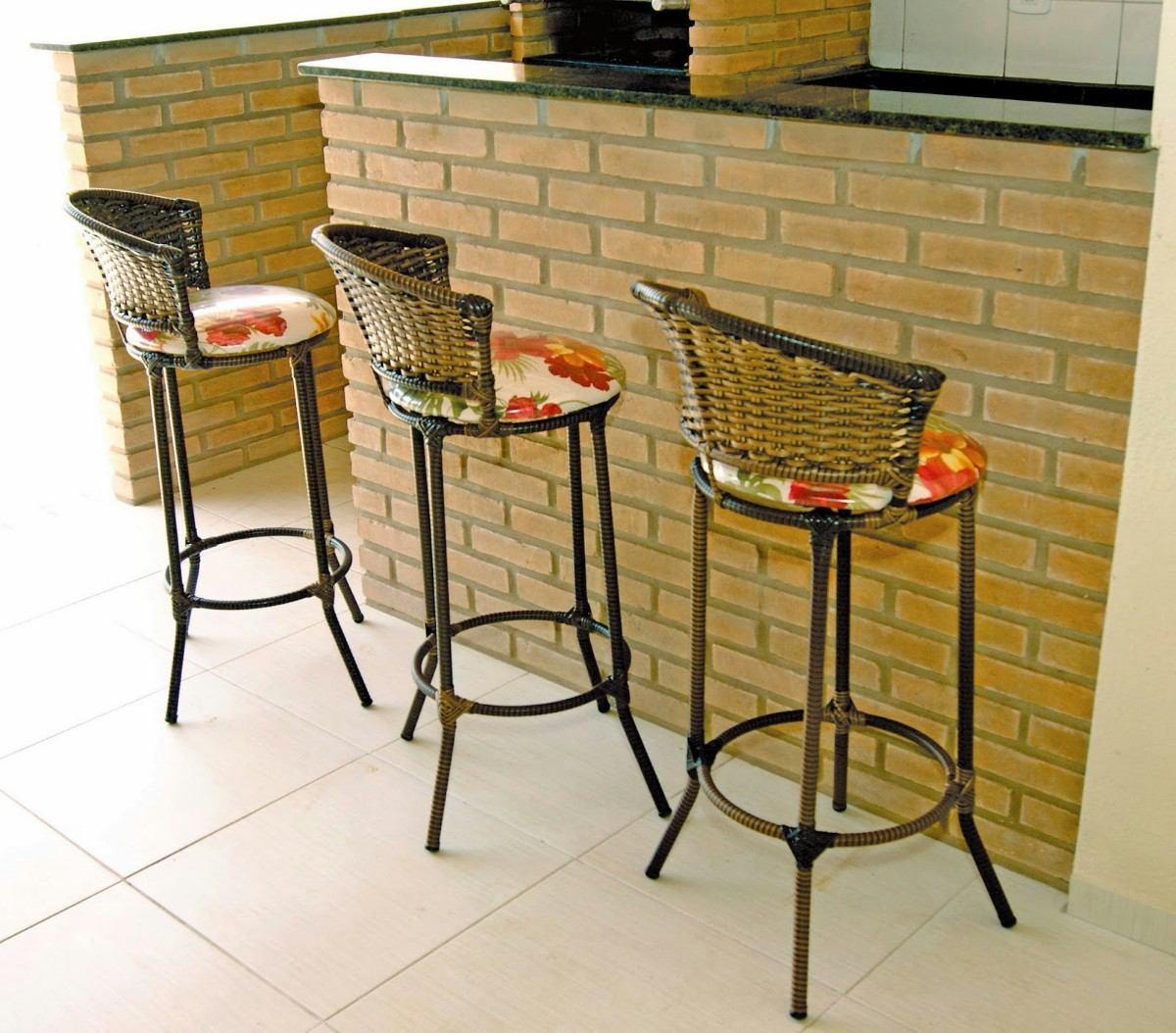 #B43D17 Banqueta De Junco Sintético R$ 120 99 em Mercado Livre 1200x1054 px Banquetas Para Cozinha Americana No Mercado Livre #1575 imagens