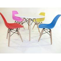 2 Cadeiras + 1 Mesa Dkr Wood Kids Infantil Charles Eames