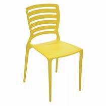 03 Cadeira Sofia Com Encosto Vazado Cor Amarela Tramontina