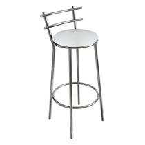 Banqueta Cromada Para Cozinha, Assento Branco, Alt 70 Cm