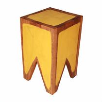 Banqueta Pequena Madeira Rustica Demolição Cor Amarelo Lindo