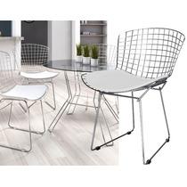 Cadeira Bertoia Cromada Assento Branco Casa Decoração Design
