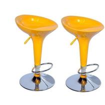 02 Banquetas Bombo Amarela Abs Com Sistema De Regulagem