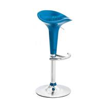 Banqueta Cadeira Alta Banco Azul E Cromado Para Cozinha Bar