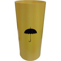 Cesto Plastico Porta Guarda Chuva Amarelo Com Adesivo