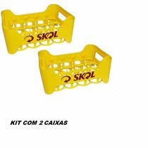 Kit Com 2 Engradados Cerveja Skol Para 18 Garrafas 300 Ml