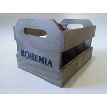 Engradado Bohemia 6 Garrafas De Cerveja Caixa De Madeira