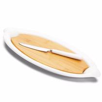 Conjunto Jogo Queijo Travessa Porcelana Tábua Bambu #ump114