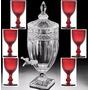 Jogo Suqueira 4 L Cristal 6 Taças Bico De Jaca Vermelho Luxo