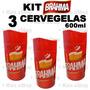 Kit 3 Cervegela Brahma 600ml Isopor Camisinha Suporte Termic