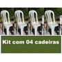 Kit 04 Cadeiras Bistrô De Plastico Modelo Ponte Nova Branco