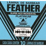 Lamina De Barbear Feather Platinum Cartela Com 60 Unidades