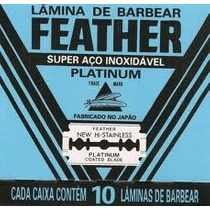 Lamina De Barbear Feather Platinum Cartela Com 60 Unidades