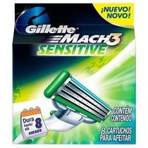 Gillette Mach 3 Sensitive Refil C/ 8 Unidades