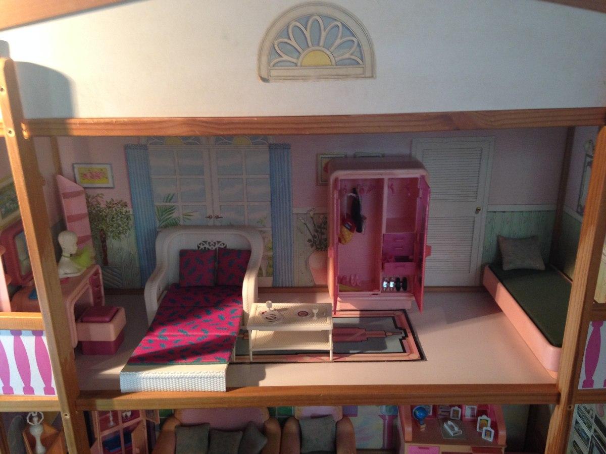 Barbie Casa De Madeira 3 A. Anos 80 C/ Moveis  Frete Grátis R$ 2  #9A6331 1200x900