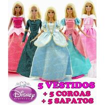 Kit 5 Vestidos Princesa Disney Barbie + 5 Sapatos + 5 Coroas