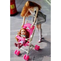 Charmoso Carrinho Com Bebê Para Boneca Barbie * Kelly