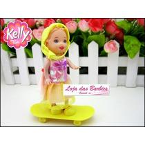 Boneca Bebê Da Barbie Com Skate E Capacete * Estilo Kelly *