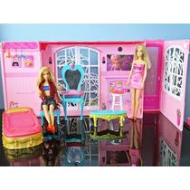 Casa Da Barbie Móveis Pink World House Mattel + 2 Bonecas