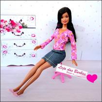Cadeira Com Rodinhas Para Barbie ! Escritório * Susi * Ken
