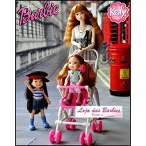 Lindo Carrinho Com Bebê Para Boneca Barbie ! * Kelly * Novo