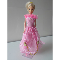 Boneca Barbie Vestido Rosa De Fest Mattel 1999