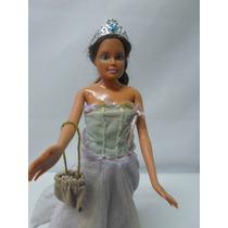Barbie Morena Mattel Vestido Longo De Festa Perfeito Estado